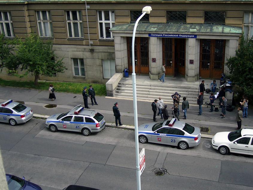Съемки фильма про российских полицейских в Праге, у ВШХТ